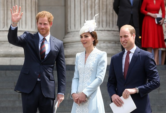 LONDON, ENGLAND - JUNE 10: Prince Harry, Catherine, Duchess of Cambridge and Prince William, Duke of Cambridge attends a National Service of Thanksgiving as part of the 90th birthday celebrations for The Queen at St Paul