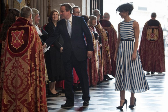 LONDON, ENGLAND - JUNE 10: Prime Minister David Cameron and Samantha Cameron arrive for a service of thanksgiving for Queen Elizabeth II