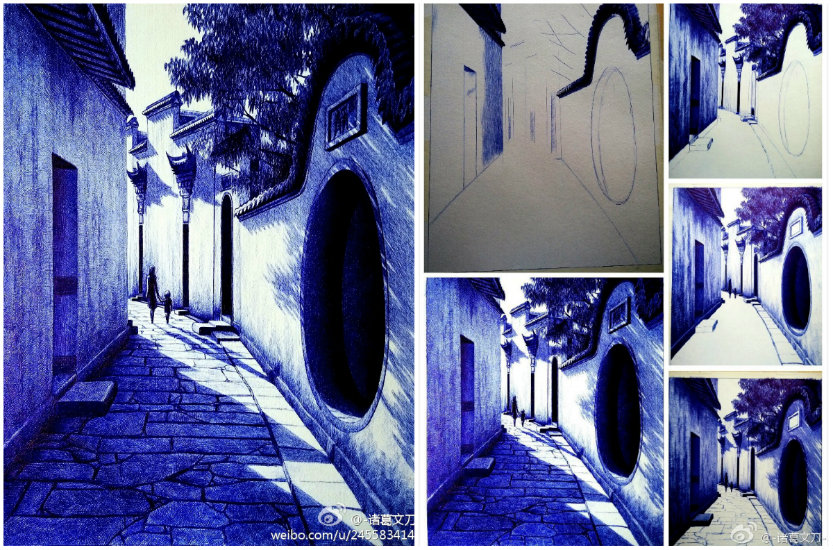 Ballpoint-pen-Painting-Morning-Chinese-Art