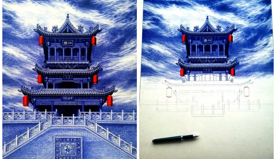 Chinese-Gate-Tower-Ballpoint-Pen-Painting-950x550