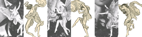 """Montage of Cottingley Fairies and illustrations from """"Princess Mary's Gift Book."""" (Wikimedia Commons)"""