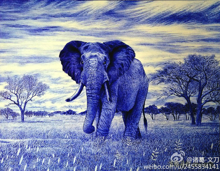 Old-Elephant-Ballpoint-Pen-Painting