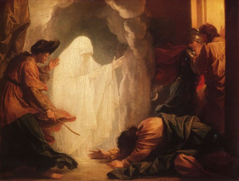 A depiction of the story of Saul and the Witch of Endor, painted by Benjamin West, 1777. (Wikimedia Commons)