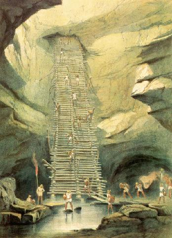 Một chiếc hồ cenote trong bức tranh của Frederick Catherwood (1844)
