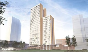 The 84-metre-high wooden skyscraper, which will be built in the Seestadt Aspern area of Vienna, Image: Rüdiger Lainer and Partner
