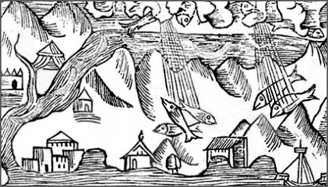 1555 engraving of raining fish. (Wikimedia Commons)