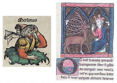 Left: An illustration from the Nuremberg Chronicle, 1493. (Michel Wolgemut, Wilhelm Pleydenwurff/Wikimedia Commons) Right: Merlin, depicted in the Suite Vulgate manuscript, 1286. (Wikimedia Commons)
