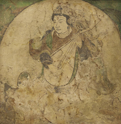 Wall painting of a feitian playing pipa - pigment on stucco, Tang Dynasty, A.D. 600-800. (Image: Wikimedia Commons)