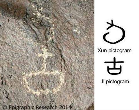 Left: New Mexico oracle-bone Xun petroglyph (the symbol for the ancient 10-day Chinese sacred period) written above an equally ancient Chinese petroglyph of Ji (meaning