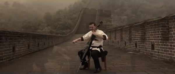 Steve Sharp Nelson with his custom electric cello named 'Bruce Lee.' (Screenshot/YouTube)