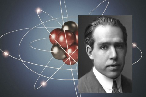 Right: Neils Bohr, ca. 1922 (AB Lagrelius & Westphal) Background: Illustration of an atom. (Alexander Bedrin/iStock)