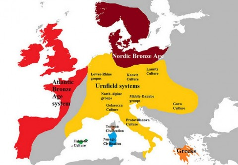 Europe in the late Bronze Age of about 1100 B.C. (Xoil/ Wikimedia Commons)