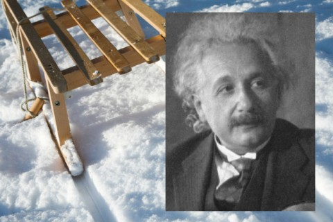 Albert Einstein (Public domain) Background: Sled (Afhunta/iStock)