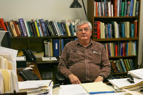 Dr. Ed Kelly in his office at the University of Virginia's Division of Perceptual Studies on Feb. 6, 2015. (Tara MacIsaac/Epoch Times)