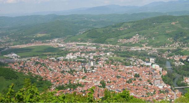 View from Visočica hill where old town Visoki once stood showing today's Visoko and much of historic and present Visoko valley, excluding Moštre