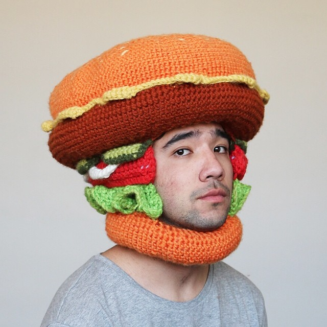 This Guy Crochets Hilarious Food Hats And Wears Them Himself