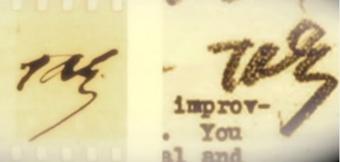 "Right: Thomas Edison's signature from when he was alive. Left: Signature purportedly written by Thomas Edison's spirit after he died, imprinted on film during the Scole Experiment. (Screenshot/""This Life, Next Life""/iDigitalMedium/YouTube)"