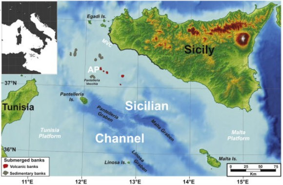 The area studied, the Pantelleria Vecchia Bank, is now undersea between Sicily and Tunisia. (Science Direct)