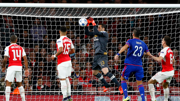 LONDON, ENGLAND - SEPTEMBER 29:  David Ospina of Arsenal scores an own goal during the UEFA Champions League Group F match between Arsenal FC and Olympiacos FC at the Emirates Stadium on September 29, 2015 in London, United Kingdom.  (Photo by Shaun Botterill/Getty Images)