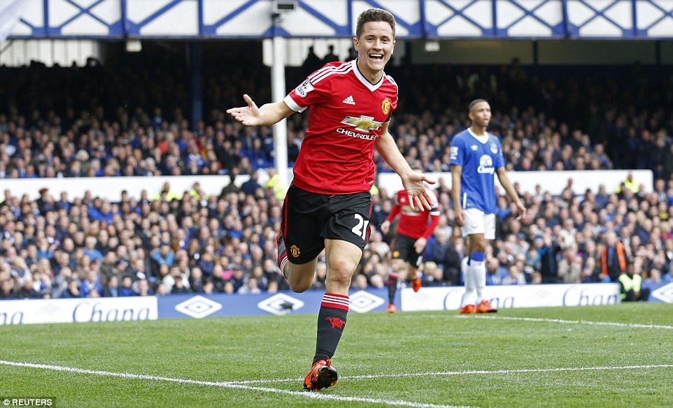 Manchester United midfielder Ander Herrera is all smiles after he put his side 2-0 up at Goodison Park against Everton on Saturday