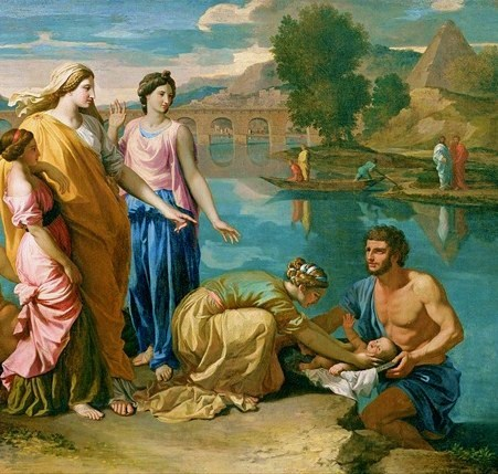 "0. Bức ""Baby Moses rescued from the Nile"", 1638, (Họa sĩ: Nicolas Poussin)"