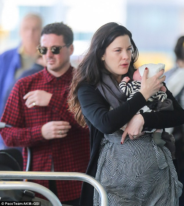 Back in February: Liv debuted her newborn son Sailor by arriving at JFK Airport with her eldest boy Milo and fiancee Dave Gardner
