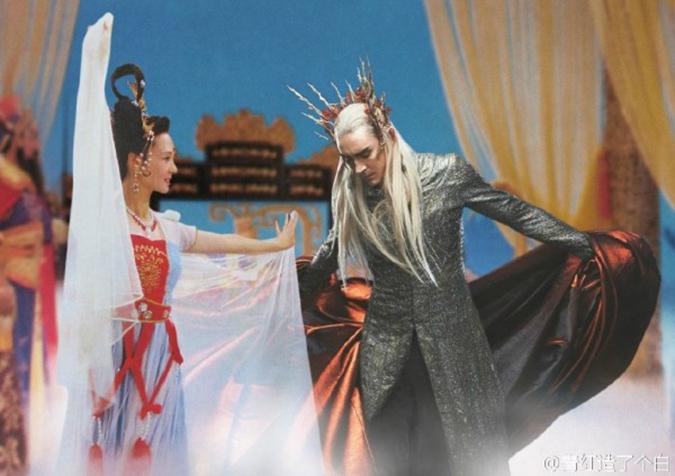 Hằng Nga đang nhảy múa với vua Tiên tộc Thranduil. (Ảnh: Weibo.com)