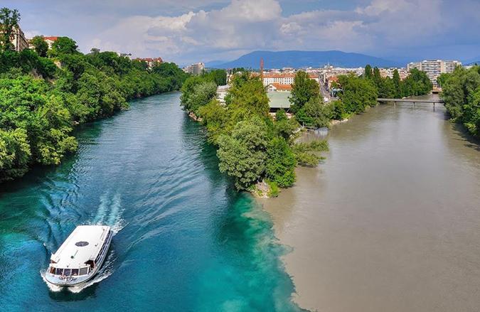 Sông Ron và sông Arve ở Thuỵ Sĩ. (Ảnh: Internet)