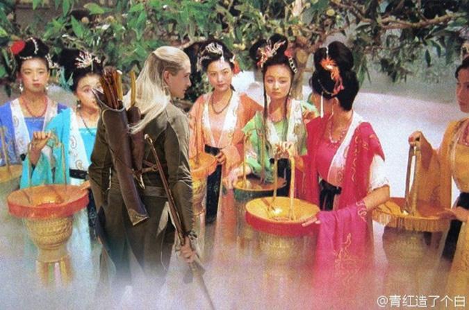 Legolas đi qua bảy nàng tiên xinh đẹp. (Ảnh: Weibo.com)