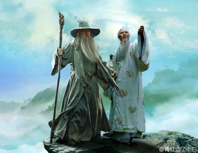 Gandalf và Sư tổ Bồ Đề. (Ảnh: Weibo.com)