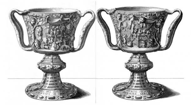An engraving by Michel Félibien that was made in 1706, depicting the front and the back of the Cup of the Ptolemies. (Public Domain) Hình chạm khắc năm 1706 của Michel Félibien, miêu tả mặt trước và mặt sau của cốc Ptolemy. (Ảnh: Wikimedia)