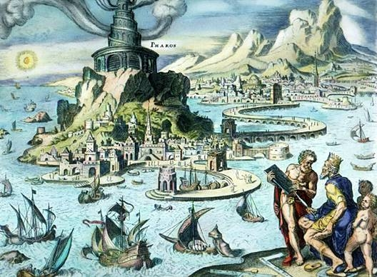 "Hand-colored engraving of the Pharos of Alexandria by Maarten van Heemskerck (1498–1574). ( Wikimedia Commons ) Tranh minh họa ""Hải đăng Alexandria"" của họa sĩ Maarten van Heemskerck (1498–1574). (Ảnh: Wikimedia Commons)"