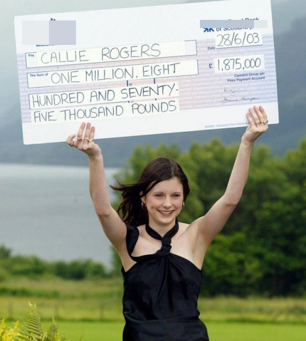 Sixteen-year-old, Callie Rogers from Cockermouth in Cumbria celebrates, Tuesday July 1, 2003, after winning £1.8 million on the National Lottery, becoming the second youngest jackpot winner. Watch for PA story. PA photo: Phil Noble.