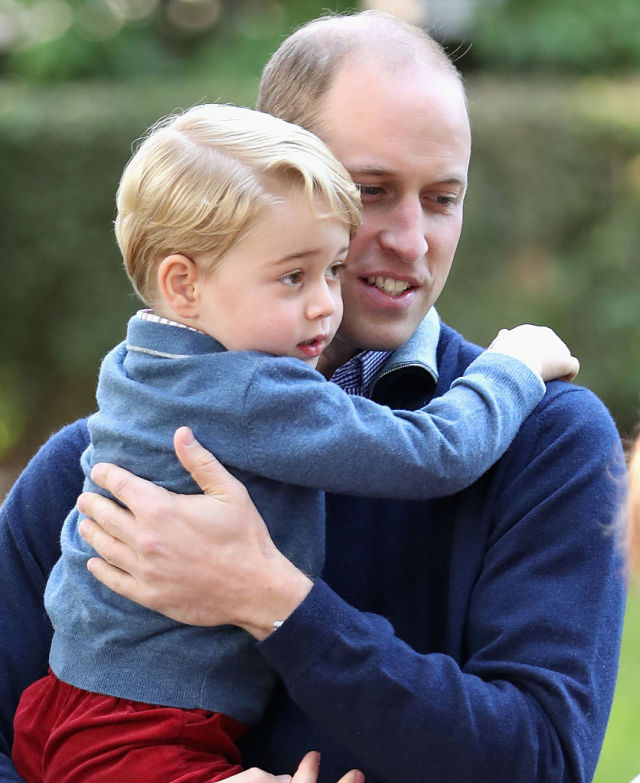 VICTORIA, BC - SEPTEMBER 29: Prince George of Cambridge with Prince William, Duke of Cambridge at a children's party for Military families during the Royal Tour of Canada on September 29, 2016 in Victoria, Canada. Prince William, Duke of Cambridge, Catherine, Duchess of Cambridge, Prince George and Princess Charlotte are visiting Canada as part of an eight day visit to the country taking in areas such as Bella Bella, Whitehorse and Kelowna (Photo by Chris Jackson - Pool/Getty Images)