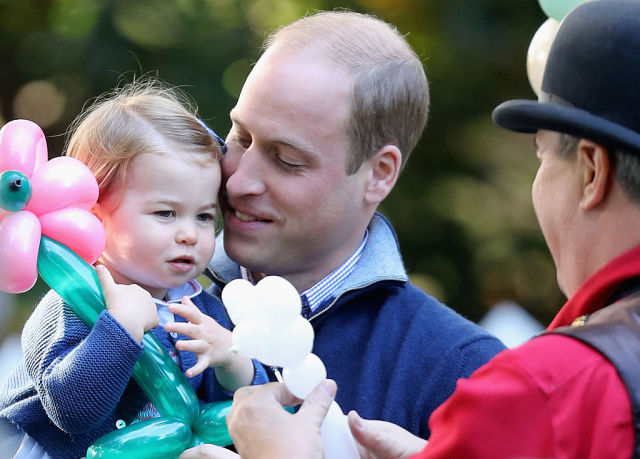 VICTORIA, BC - SEPTEMBER 29: Prince William, Duke of Cambridge and Princess Charlotte of Cambridge at a children's party for Military families during the Royal Tour of Canada on September 29, 2016 in Victoria, Canada. Prince William, Duke of Cambridge, Catherine, Duchess of Cambridge, Prince George and Princess Charlotte are visiting Canada as part of an eight day visit to the country taking in areas such as Bella Bella, Whitehorse and Kelowna (Photo by Chris Jackson - Pool/Getty Images)