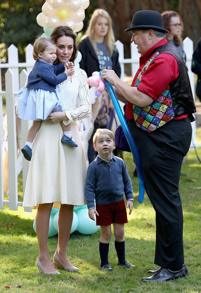 VICTORIA, BC - SEPTEMBER 29: Catherine, Duchess of Cambridge, Princess Charlotte of Cambridge and Prince George of Cambridge at a children's party for Military families during the Royal Tour of Canada on September 29, 2016 in Victoria, Canada. Prince William, Duke of Cambridge, Catherine, Duchess of Cambridge, Prince George and Princess Charlotte are visiting Canada as part of an eight day visit to the country taking in areas such as Bella Bella, Whitehorse and Kelowna (Photo by Chris Jackson - Pool/Getty Images)