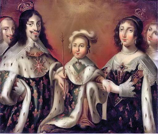 Vua cha Louis XIII cùng vợ và con trai