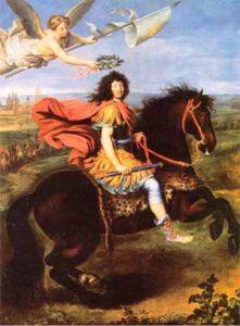 Hình ảnh vua Louis XIV trên lưng ngựa được thiên thần trao cho vương miện nguyệt quế để trị vì muôn dân
