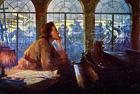 "Frédéric Chopin at the piano, composing ""Nocturne"" Op. 9 no. 2. Painting by Leo B. Eichhorn. Polish composer (1810-1849)."