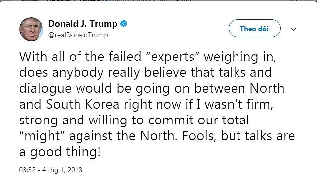 Tổng thống Trump hoan nghênh động thái tích cực giữa 2 miền liên Triều. (Ảnh: Twitter)