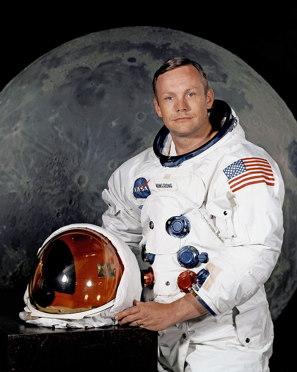 Armstrong posing in his spacesuit